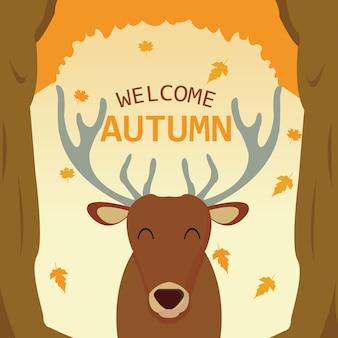 Herten welkom autumn illustration