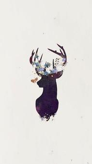 Hertenkop silhouet schilderij mobiel behang