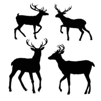 Hertensilhouet, vector, illustratie