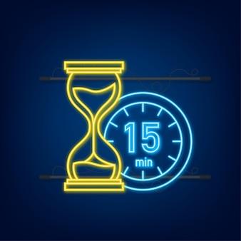 Het 15 minuten, stopwatch vector neon icoon. stopwatch pictogram in vlakke stijl, timer op op gekleurde achtergrond. vector illustratie.