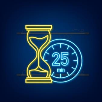 Het 25 minuten, stopwatch vector neon icoon. stopwatch pictogram in vlakke stijl, timer op op gekleurde achtergrond. vector illustratie.