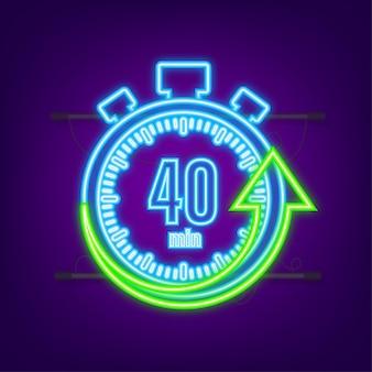 Het 40 minuten, stopwatch vector neon icoon. stopwatch pictogram in vlakke stijl, timer op op gekleurde achtergrond. vector illustratie.