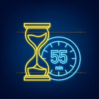 Het 55 minuten, stopwatch vector neon icoon. stopwatch pictogram in vlakke stijl, timer op op gekleurde achtergrond. vector illustratie.