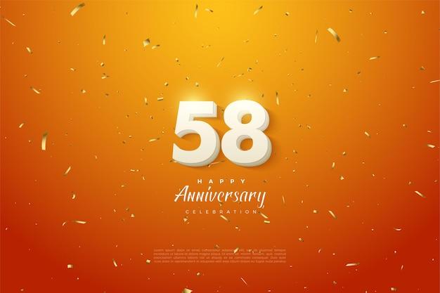 Het 58-jarig jubileum met een afbeelding van 3d-figuren die verschijnen