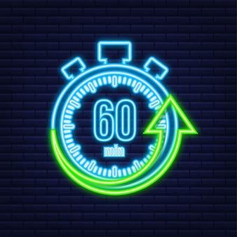 Het 60 minuten, stopwatch vector neon icoon. stopwatch pictogram in vlakke stijl, timer op op gekleurde achtergrond. vector illustratie.