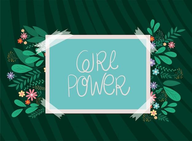 Het aanplakbiljet van de meisjesmacht met bladeren en bloemen vectorontwerp