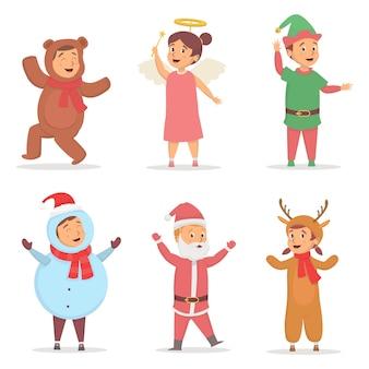 Het aantal kinderen gebruikt schattig kostuum bij de illustratie van het kerstseizoen