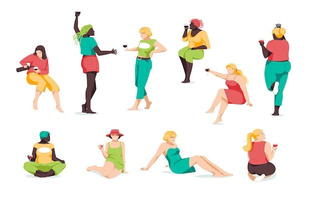 Het aantal meisjes van verschillende rassen en lichaamsbouw ontspannen. vlak