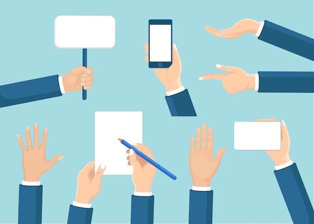 Het aantal menselijke handen houdt plakkaat, telefoon, document, potlood d op achtergrond. diverse gebaren. zakenman arm in verschillende posities.