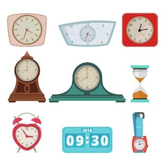 Het aantal verschillende klokken en handhorloges isoleert op wit