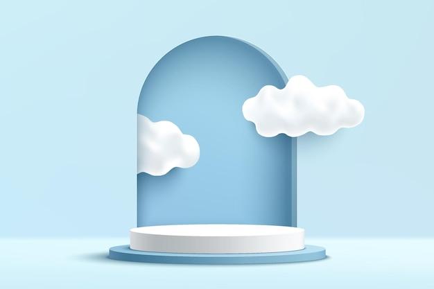 Het abstracte 3d lichtblauwe en witte podium van het cilindervoetstuk met wolken binnen het venster op de muur