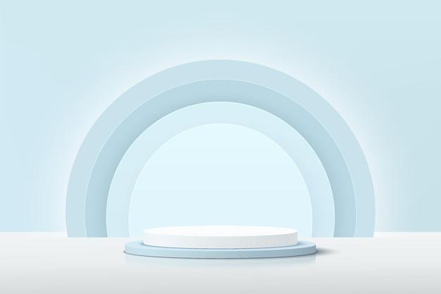 Het abstracte 3d witte en blauwe podium van het cilindervoetstuk met gloeiende lichtblauwe halve cirkelachtergrond