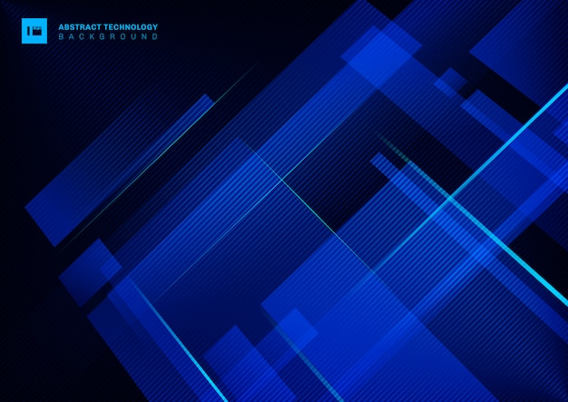 Het abstracte blauwe geometrische overlappen van het technologieconcept met lichte laserlijn op donkere achtergrond.