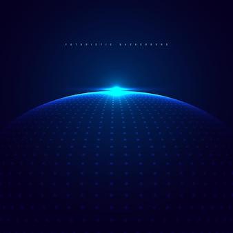 Het abstracte blauwe gloeiende bol van stippendeeltjes met verlichting op donkerblauw achtergrondtechnologie futuristisch concept.
