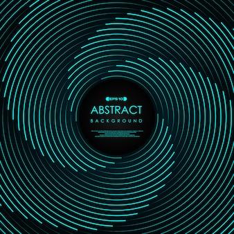 Het abstracte blauwe ontwerp van het het patroonkunstwerk van de lijnwerveling van technologieachtergrond. Premium Vector