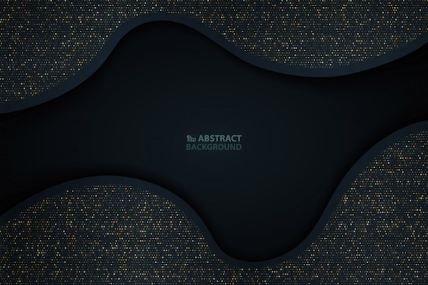 Het abstracte donkerblauwe document besnoeiingsgoud schittert patroonachtergrond