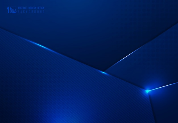 Het abstracte donkerblauwe ontwerp van de technologieverloop van de achtergrond van het overlappingskunstwerkmalplaatje.