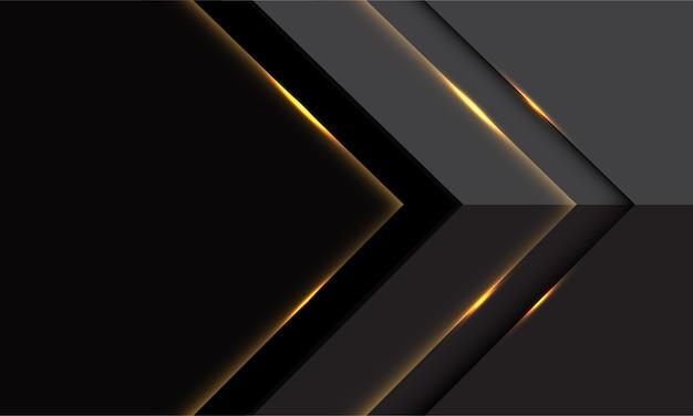 Het abstracte grijze gouden lichte futuristische ontwerp van de pijl moderne luxe