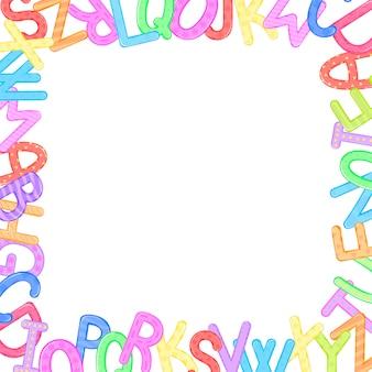 Het abstracte kleurrijke frame van het jonge geitjesalfabet dat op witte achtergrond wordt geïsoleerd.