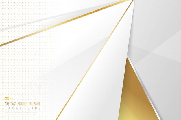 Het abstracte kunstwerk van gouden ontwerp met gradiënt wit malplaatje verfraait met halftone achtergrond.