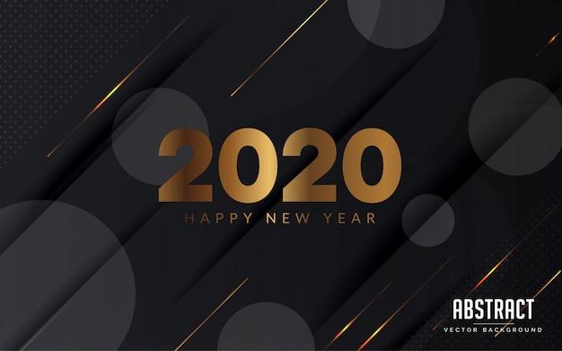 Het abstracte moderne ontwerp van het achtergrond zwarte en gouden kleuren gelukkige nieuwe jaar