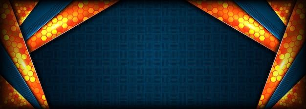 Het abstracte moderne technologieblauw combineert met oranje achtergrond