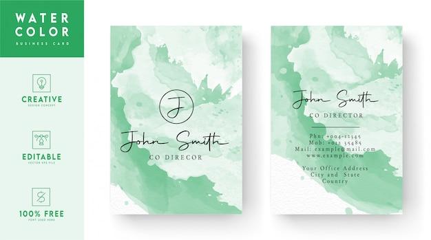 Het abstracte ontwerp van het waterverfvisitekaartje - kleurrijk identiteitskaart-ontwerp