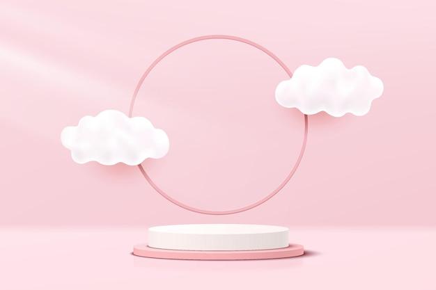 Het abstracte witte en roze 3d podium van het cilindervoetstuk met wolken die en cirkelringachtergrond vliegen