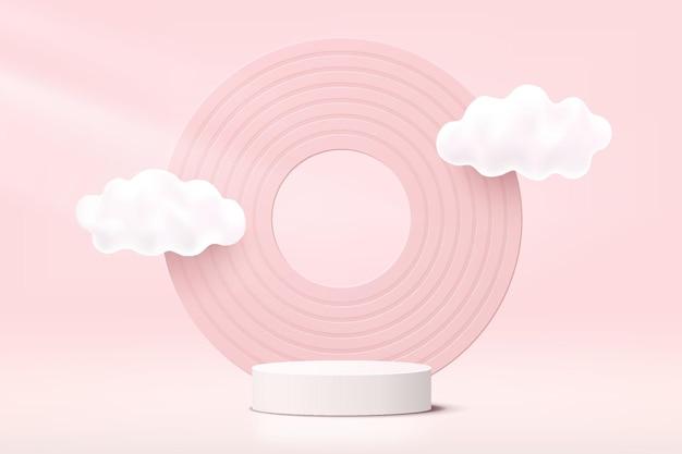 Het abstracte witte en roze realistische 3d podium van het cilindervoetstuk met wolken die en cirkelachtergrond vliegen