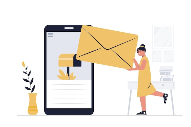 Het administratief personeel stuurt e-mails naar de klanten van het bedrijf online met hun smartphones