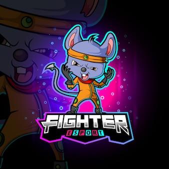 Het agile fighter mouse esport logo-ontwerp van illustratie