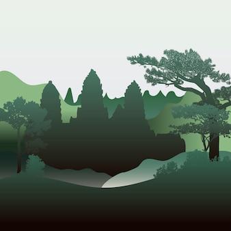 Het angkor wat-vectorontwerp van het tempelsilhouet