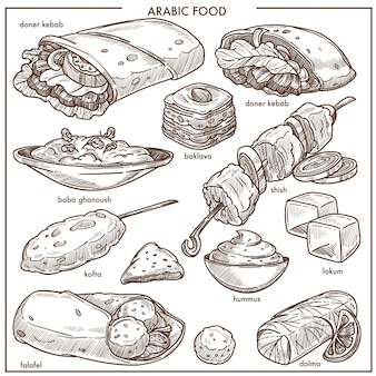 Het arabische menu van de schotelschotel van het keuken traditionele voedsel vectorschets
