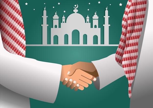 Het arabische zakenman schudden overhandigt een overeenkomst.