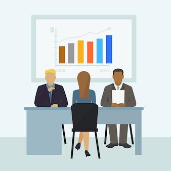 Het arbeidersgesprek, karakterwijfje, mannetje op kantoor krijgt baan, illustratie. financieringsmaatschappij zoekt nieuwe werknemer.