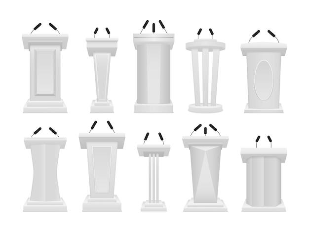 Het artistieke ontwerp van de tribune staat. bedrijfspresentatie of conferentietoespraak