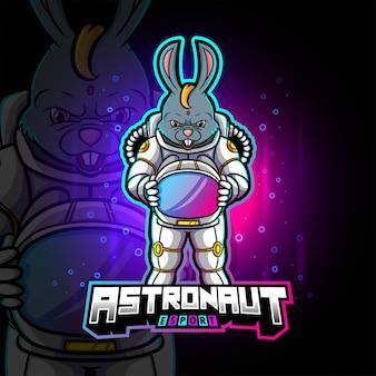 Het astronautenkonijn esport-logo-ontwerp van illustratie