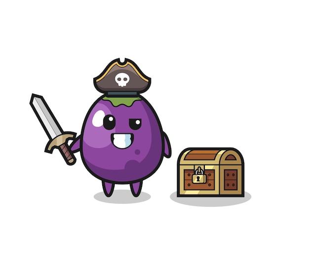 Het aubergine-piraatkarakter met zwaard naast een schatkist, schattig auberginekarakter houdt een oude telescoop vast