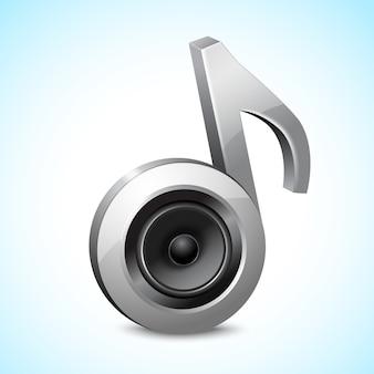 Het audiosprekersubwoofer systeem in de muziekconcept van het notakenteken dat op witte achtergrond wordt geïsoleerd