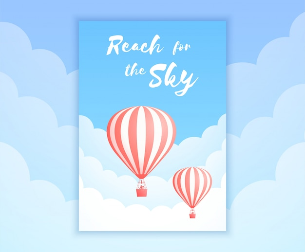 Het avontuurillustratie van de hete luchtballonhemel