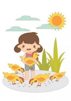 Het babymeisje draagt kip en voedt kip.