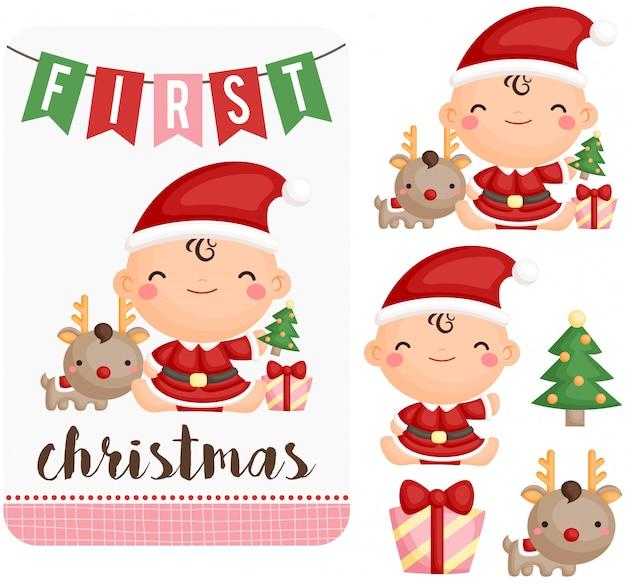 Het babymeisje viert haar eerste kerstmis