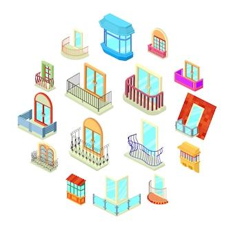Het balkonvenster vormt geplaatste pictogrammen, isometrische stijl