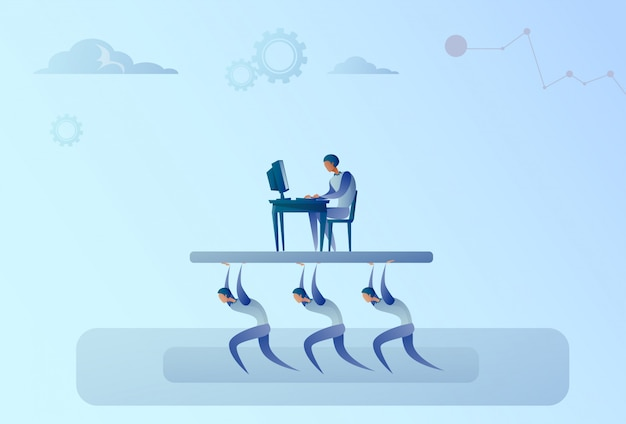 Het bedrijfsmensenteam draagt chef- zakenman die aan het concept van de computerleiding werken