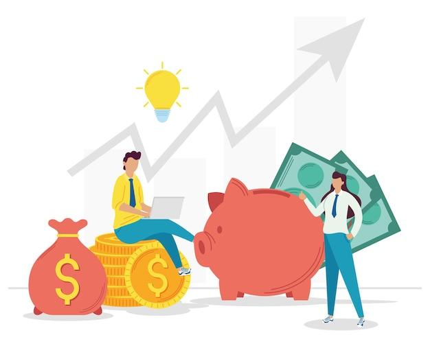 Het bedrijfspaar met investeert geld