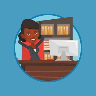 Het bedrijfsvrouw ontspannen in bureau.