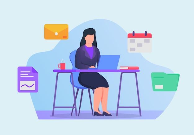 Het bedrijfsvrouwenwerk aangaande laptop op bureauconcept met verwante pictogrammen