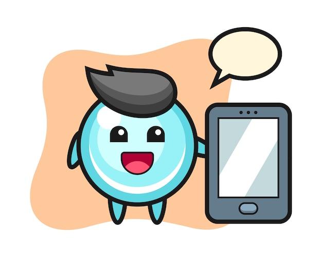 Het beeldverhaal die van de bellenillustratie een smartphone, leuk stijlontwerp houden