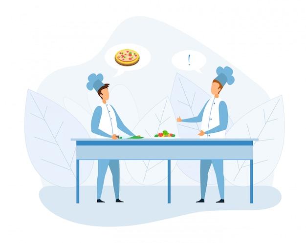 Het beeldverhaal van het twee chef-kokkok bespreken pizza recept