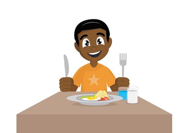 Het beeldverhaalkarakter, afrikaanse jongen eet ontbijt, vectoreps10